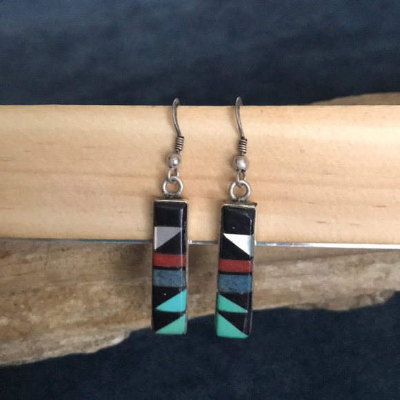 75095f52f Jewelry | Zuni Signed Sterling Silver Stone Inlay Earrings | Poshmark